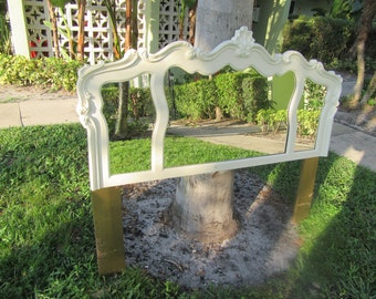 REFLECTIONS OF PARIS / Dreamy Queen Size French Style Three Panel Mirrored Headboard / Paris Apt.