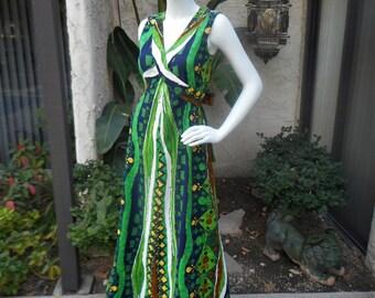 Vintage 1960's Multi Color Hawaiian Style Sleeveless A-Line Dress - Size 10