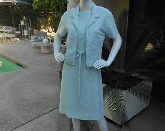 Vintage 1970's R & K Originals Powder Blue Knit Dress and Matching Jacket - Size 12