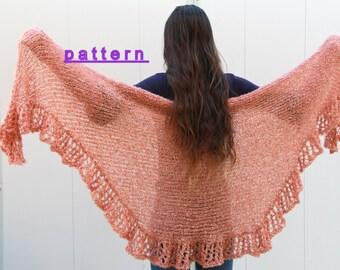 Ruffle Shawl PDF Pattern, Hand Knit Shawl Pattern, Women's Shawl Tutorial