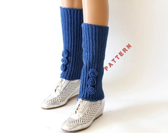 Knitting Pattern For Childrens Hand Warmers : Blue boot cuffs Etsy