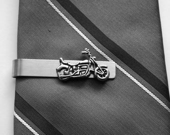 """Motorcycle tie bar - stainless steel 2"""" tie bar - antique silver charm"""