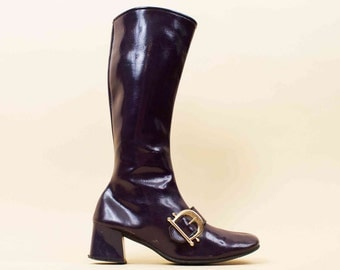 60s Vtg Purple Vinyl Zip Up BUCKLE GoGo Knee High Boots / Mod Spage Age Chunky Platform Heel 8 8.5 9 EU 38.5 39