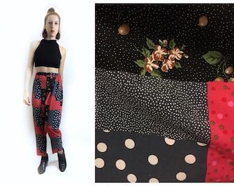 Patchwork Print High Waist 90s Inspired Pants