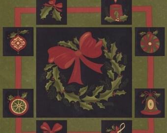 15% off thru 3/31 moda fabric panel DELIGHTFUL DECEMBER  pine green 17870-11 Sandy Gervais Christmas  wreath, labels, tags