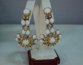 Juliana White Milk Glass and Rhinestone Dangle Clip Earrings