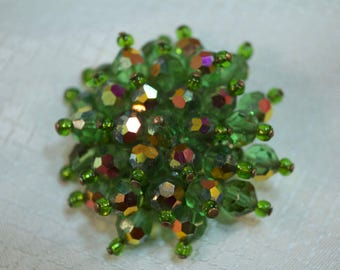 1960's Green Borealis, AB Faceted Rhinestone, Wired Cluster Brooch