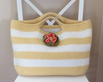 Knit and Felted Bag Pattern, Market Bag - Tote - Purse - Summer Sun Beach Bag - Knitting Patterns by Deborah O'Leary