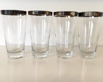 Set of 4 Vintage Dorothy Thorpe Allegro Pattern Silver Band Mid Century Highball Glasses Set of 4