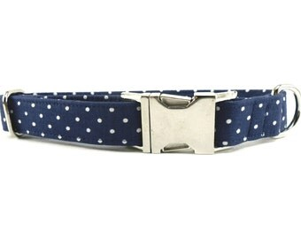 Navy Polka Dots Dog Collar