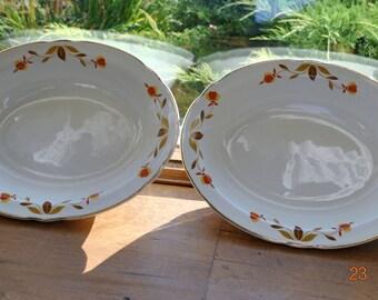 """2 - Hall Jewel Tea Autumn Leaf 10 1/4"""" Oval Vegetable Bowls"""