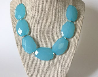 Turquoise and Silver Chunky Statement Necklace