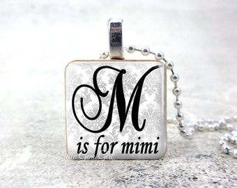 M is for Mimi Wood Pendant Necklace for Mothers Day - Personalized Mimi Gift from Grandkids - Black and White Wedding Jewelry