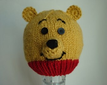 Winnie the Pooh Hat or Pooh Bear Hat for Baby and Toddlers - Hand Knit & Crochet Animal Beanie - Photo Prop