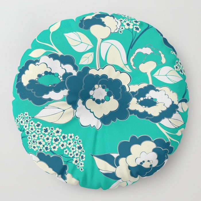 Nautical Floor Pillows : Pop Florals in Nautical Floor Cushion