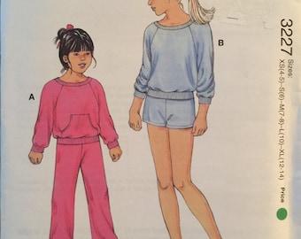 Kwik Sew 3227, Size X Small, Small, Medium, Large, X Large, Girls' Top, Pants and Shorts Pattern, UNCUT, Stretch Knits Only, Kwik Serge