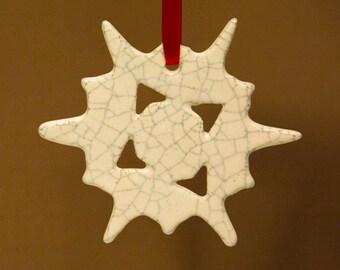Ceramic Snow Flake Ornament