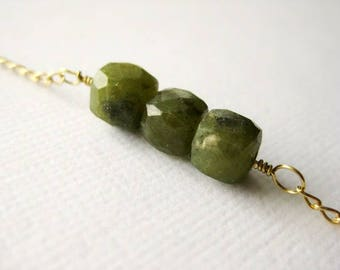 Gold filled bracelet with moss green vessonite cube beads