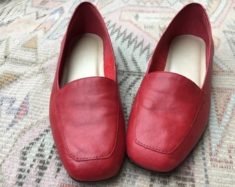 Bright Red Leather Loafer Style Slip-On Shoe - size 6 6.5