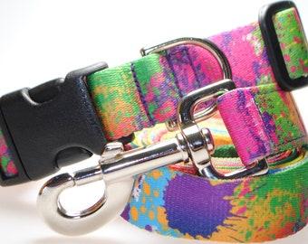 "Paint Splatter Collar and Leash Combination - 1"" Width"