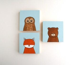 Woodland Nursery Art - Owl Fox and Bear Acrylic Paintings - Set of Three