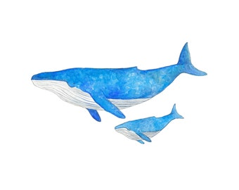 Mother and Baby Whale Print - Ocean Nursery Decor - Whale Nursery Art