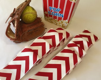 Baseball Red and White Chevron Table Runner Set Of 2 Strips - Baseball Party Themed - SELECT A SIZE - Ready To Ship