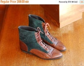 NEW YEAR SALE / vintage Italian brown leather and dark green suede ankle boots / size 9.5