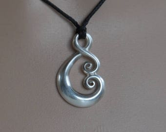 Maori love symbol ~solid  sterling silver Koru tribal ethnic necklace