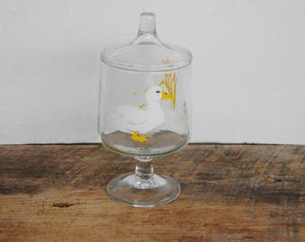 Vintage Glass Lidded Container Jar Ducks - Carlton 1983