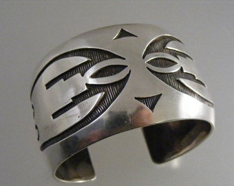 Vintage Native American  Hopi Bird Cuff Bracelet in Sterling Silver Overlay...   Lot 4884