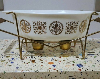 Vintage Pyrex Rare Hex Signs Cinderella Casserole Dish Warmer and Lid Gold White