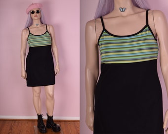 90s Sporty Striped Dress/ Large/ 1990s/ Tank/ Sleeveless