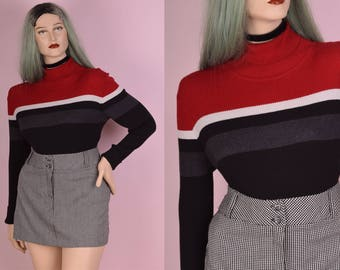 90s Striped Ribbed Sweater/ X-Large/ 1990s/ Long Sleeve/ Turtleneck
