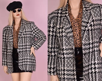 90s Black and White Houndstooth Blazer/ US 13-14/ 1990s/ Jacket