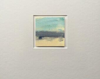 SWOOSH - Miniature 5 x 5 cm Painting - Original oil on paper, mounted on acid free mount. Irish Contemporary Abstract Art