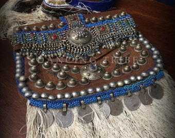 Old Moroccan Leather Bag with Fringe and Coins Tribal Desert Bag Messenger Bag Ethnic Leather Bag Gypsy Boho Fringe Bag Festival Kuchi Bag