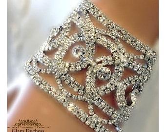 Bridal bracelet, Wedding jewelry,bridal jewelry, Crystal bracelet, bridesmaid bracelet, rhinestone bracelet, clear crystal bracelet