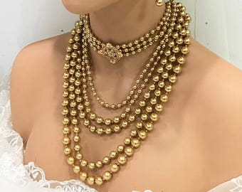 Wedding jewelry set, Gold pearl Victorian Gothic choker necklace earrings set, Bridal choker, bridal jewelry set, Ballroom jewelry