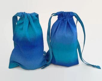 Blue Ombre Birthday Drawstring Fabric Gift Bag Upcycled, Reusable, Sustainable