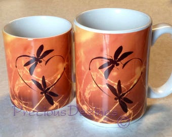 Dragonfly In Amber Sassenach mugs. Dragonfly Love coffee mugs. 15 and 11 ounce mugs