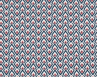 Navy and Coral Geometric Curtains  Rod Pocket  63 72 84 90 96 108 or 120 Long by 24 or 50 Wide
