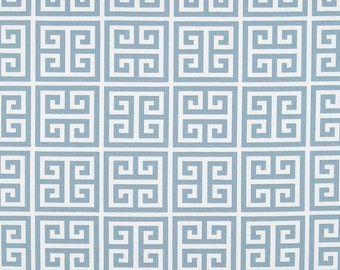 Blue White Greek Key Towers Curtains  Rod Pocket  63 72 84 90 96 108 or 120 Long x 24 or 50 Wide