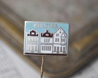 """Vintage Latvian enamel badge,pin. ''Latvian town-Kuldiga""""."""