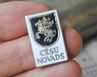 "Vintage Latvian enamel badge,pin. ''Latvia-Cesis district""."
