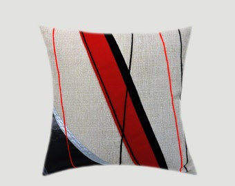 "Decorative Pillow Case, Light Grey Throw pillow case with Abstract Red, Black, Silver accent, fits 18""x18"" insert, Toss pillow case."