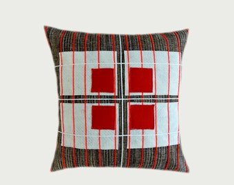 "Decorative pillow case, Upholstery Brown fabric with Red, Off White applique Throw pillow case, fits 18"" x18"" insert, Cushion case."