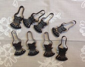 Vintage French brass curtain clips, set of 8, clip holders