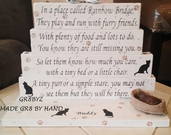 Cat Memorial poem display with cat bed BRIDGE TO A RAINBOW by GR8BYZ