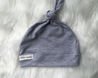 Grey Newborn Hat/ Baby Hat/ Organic Cotton Hat/ Baby Knotted Hat/ Knotted Cap/ Organic Cotton Baby Hat/ Newborn Infant Hat / Gender Neutral